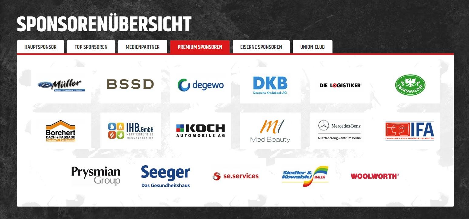 Premium Sponsor bei 1. FC Union Berlin, jetzt in der ersten Bundesliga